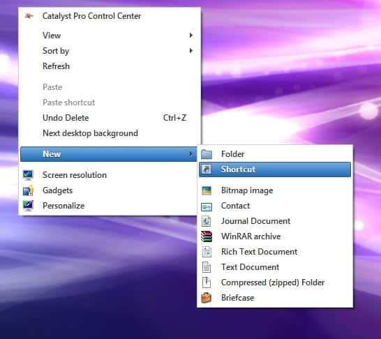 Run a Command Prompt command from Desktop Shortcut New Shortcut