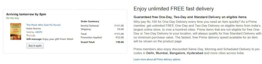 Free Dilivery Amazon Prime