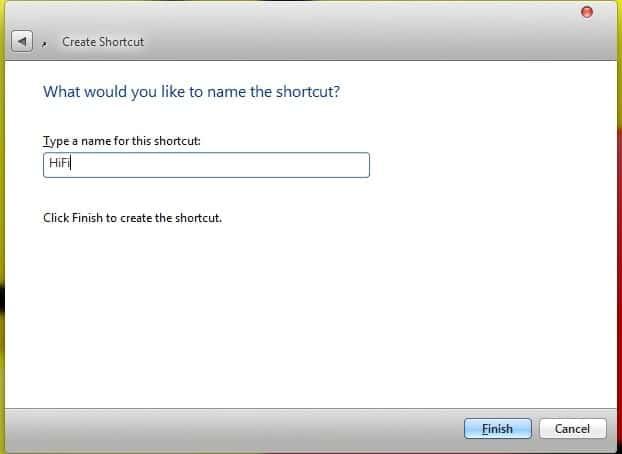 Run a Command Prompt command from Desktop Shortcut Finish